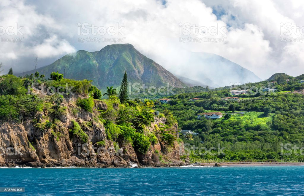Montserrat - view at volcano stock photo
