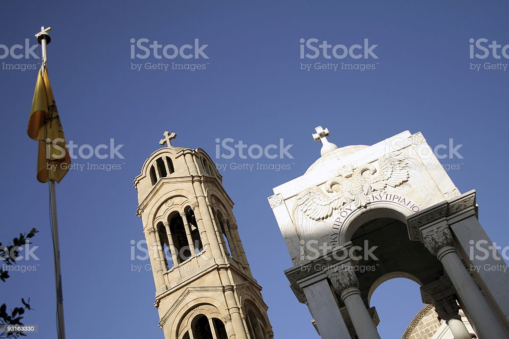 Monument and church royalty-free stock photo