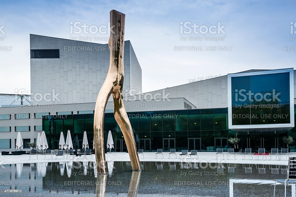 Monument and Opera building in Bregenz. stock photo