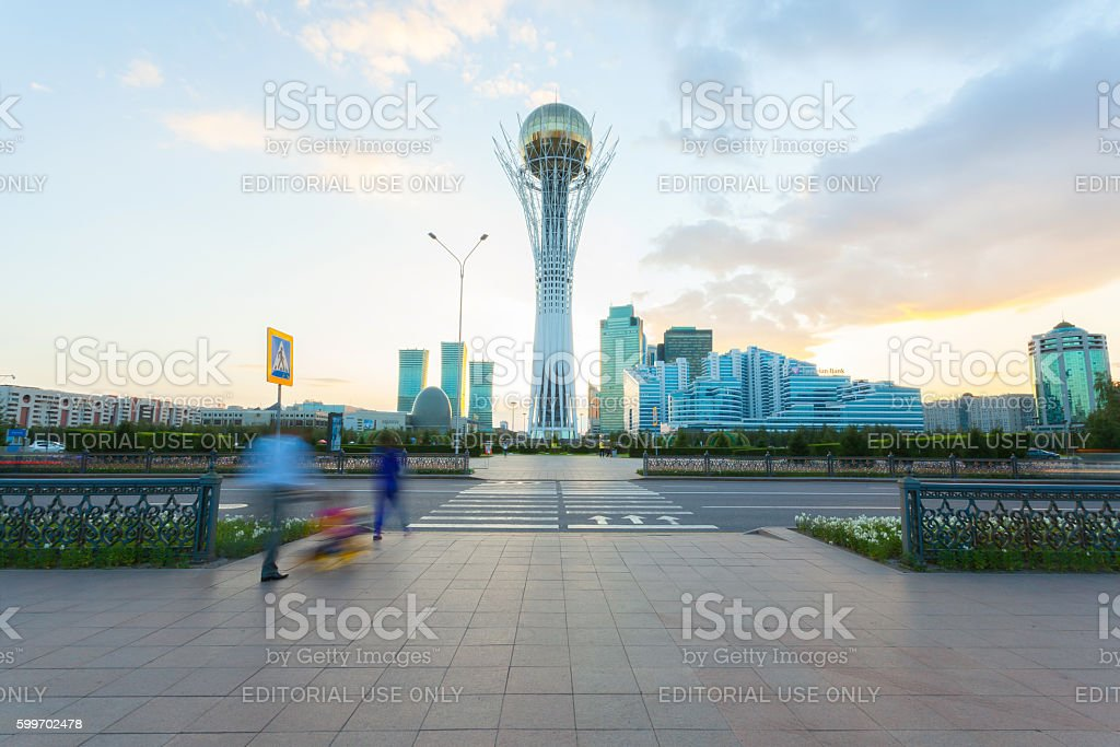 Monument Baiterek in Astana, capital Kazakhstan stock photo