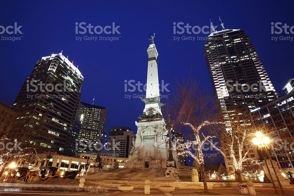 Monument Circle in Indianapolis, Indiana at night stock photo