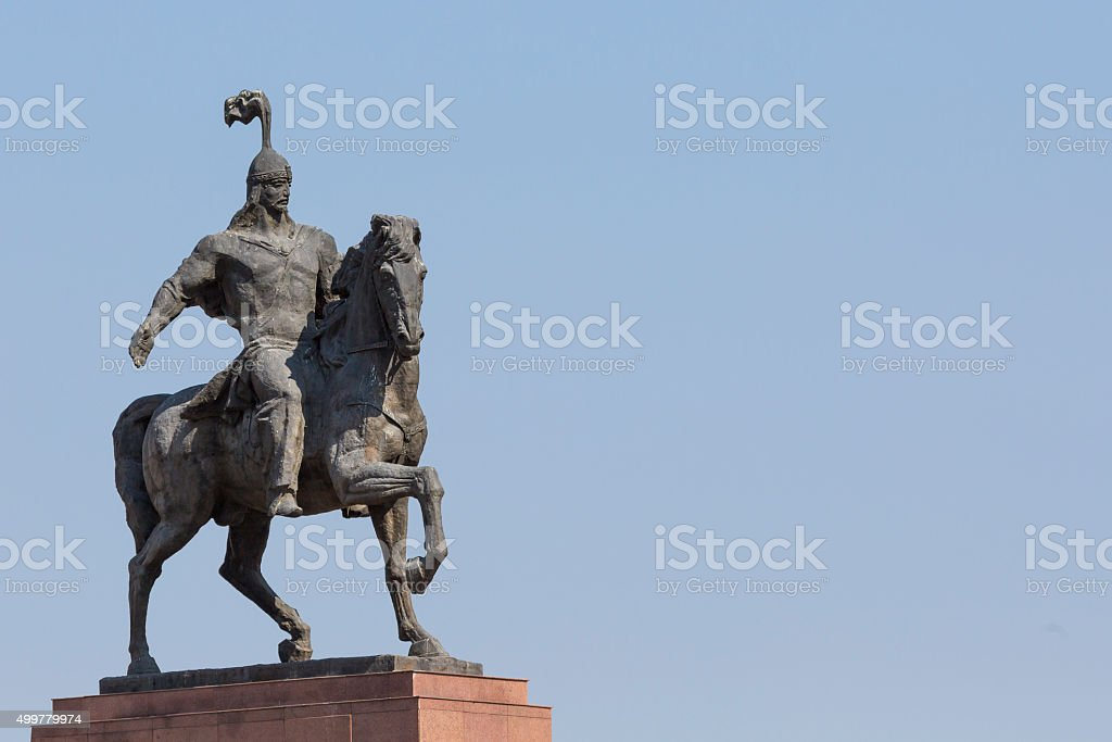 Monument Epic of Manas on Ala-Too Square. Bishkek stock photo
