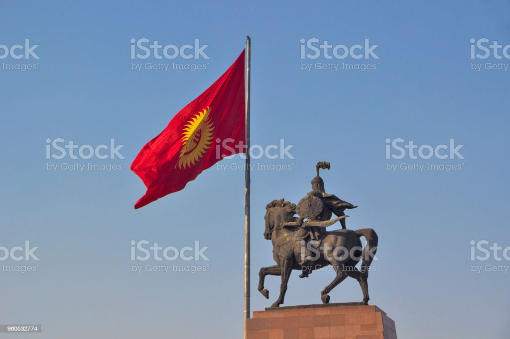 Monument for ancient hero Manas in Bishkek stock photo