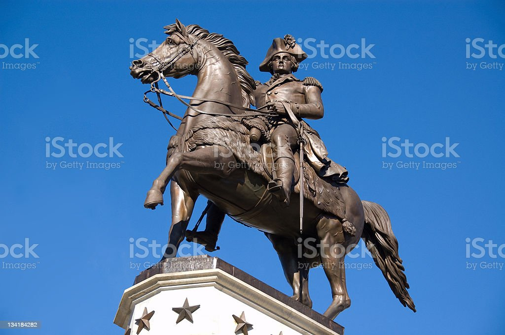 A monument for George Washington riding a horse  stock photo