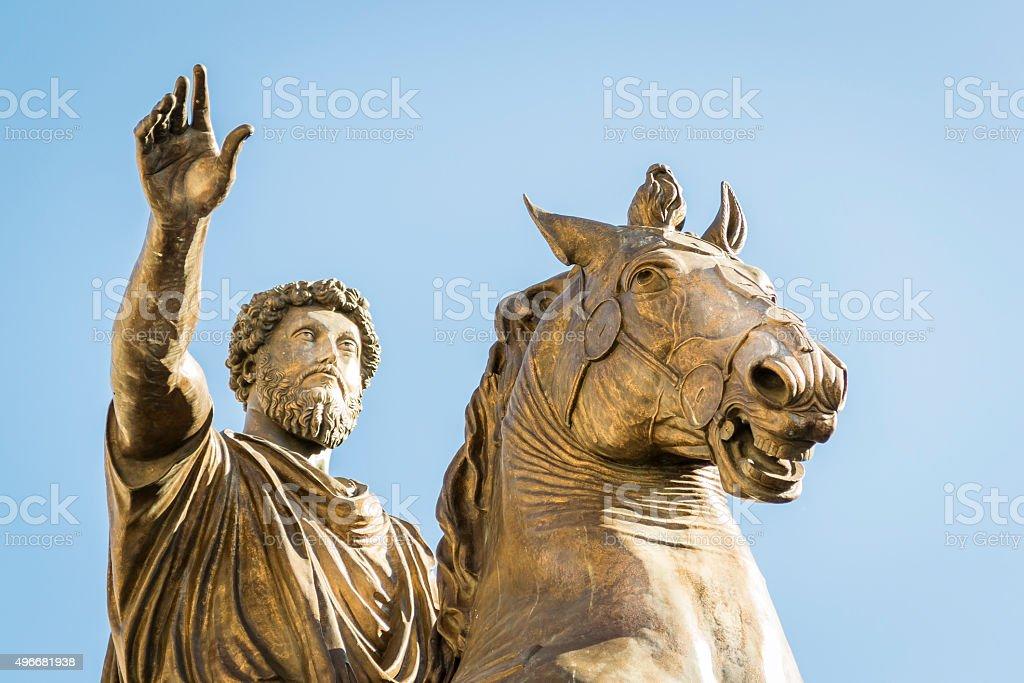 Monument for Marcus Aurelius Statue of Marcus Aurelius on the Capitoline Hill in Rome 2015 Stock Photo