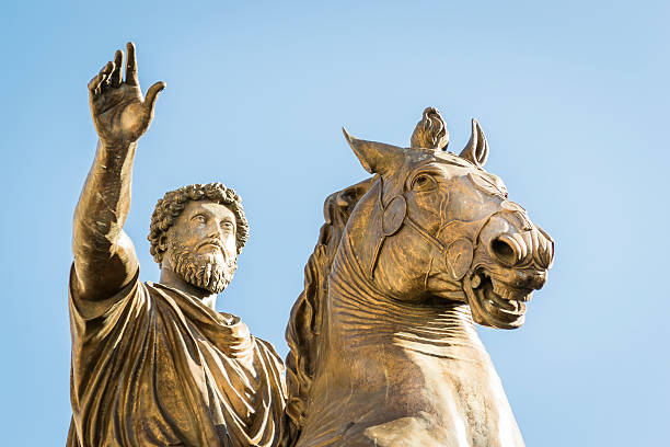 Monument for Marcus Aurelius Statue of Marcus Aurelius on the Capitoline Hill in Rome ancient rome stock pictures, royalty-free photos & images