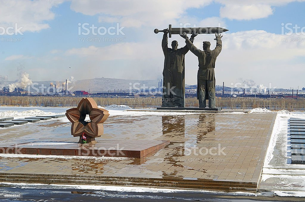 Monument in Magnitogorsk, Russia royalty free stockfoto