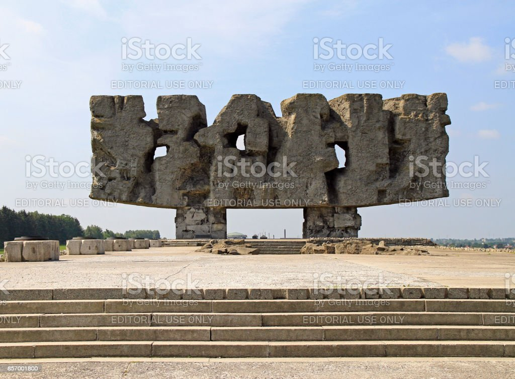Monument in Museum 'Majdanek concentration camp' stock photo