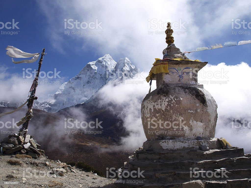 Monument in Nepal Himalaya royalty-free stock photo
