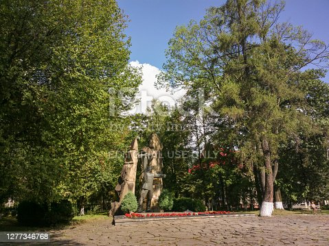 Yaremche, Ukraine - July 25, 2016: Monument to the fallen partisans in Yaremche, Ukraine.