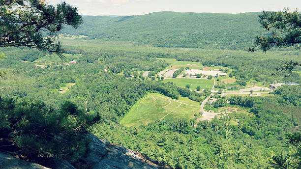 Monument Mountain Hike View of Stockbridge, Massachusetts stock photo