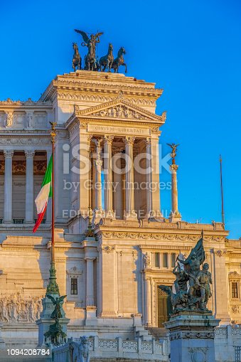 Rome: The Monument Nazional a Vittorio Emanuele II built in honour of first king of a unified Italy. Sunset light.