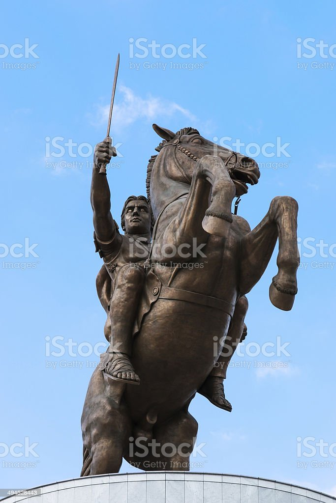 Monument of Alexander The Great stock photo