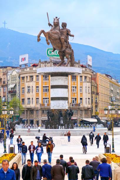 anıt, büyük i̇skender, skopje - üsküp stok fotoğraflar ve resimler