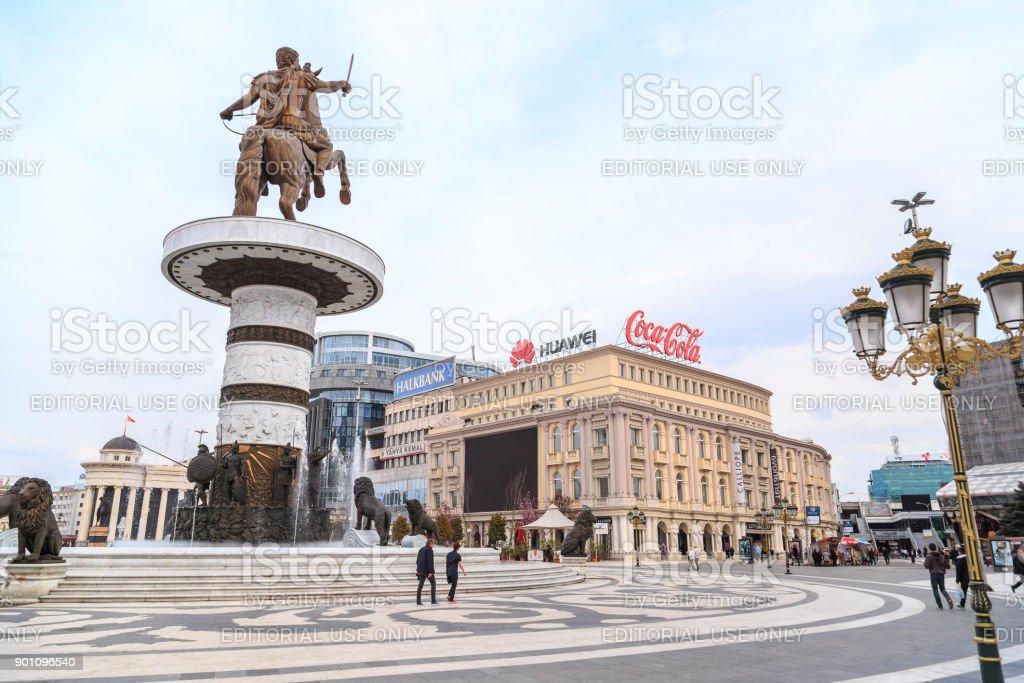 Monumento de Alexandre, o grande, Skopje - foto de acervo
