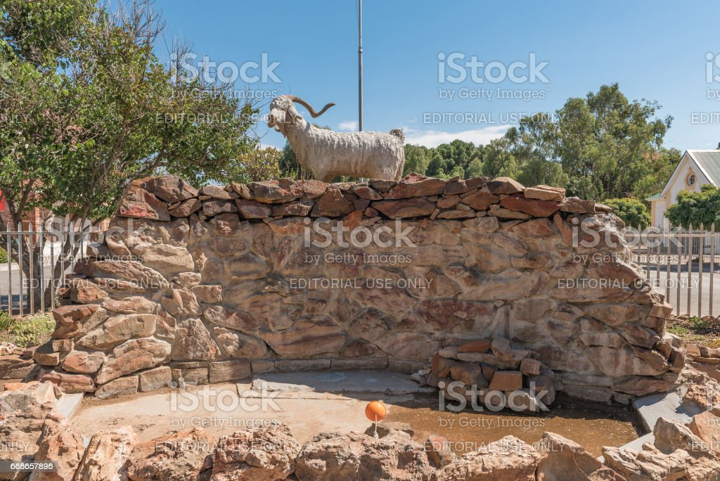 Monument of an Angora Goat in Willowmore stock photo