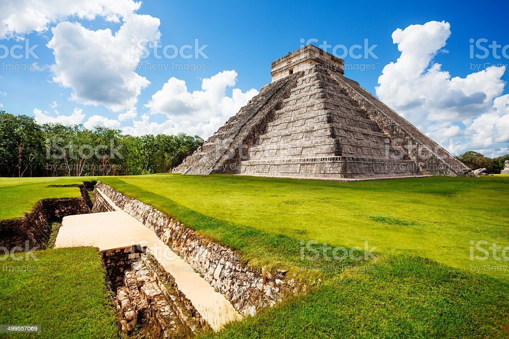 Monument of Chichen Itza during summer in Mexico stock photo