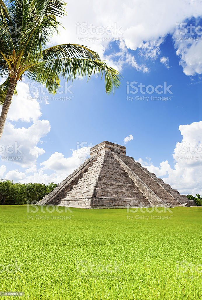 Monument of Chichen Itza in summer, Mexico stock photo