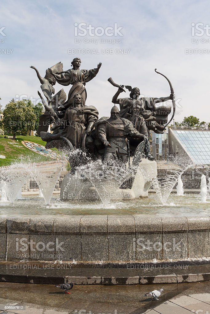 Monument of city-founders, Independence Square. Kiev, Ukraine stock photo