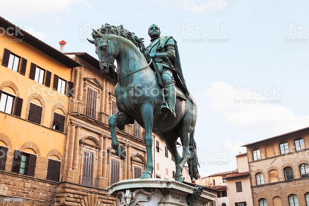 Monument of Cosimo I on Piazza della Signoria stock photo