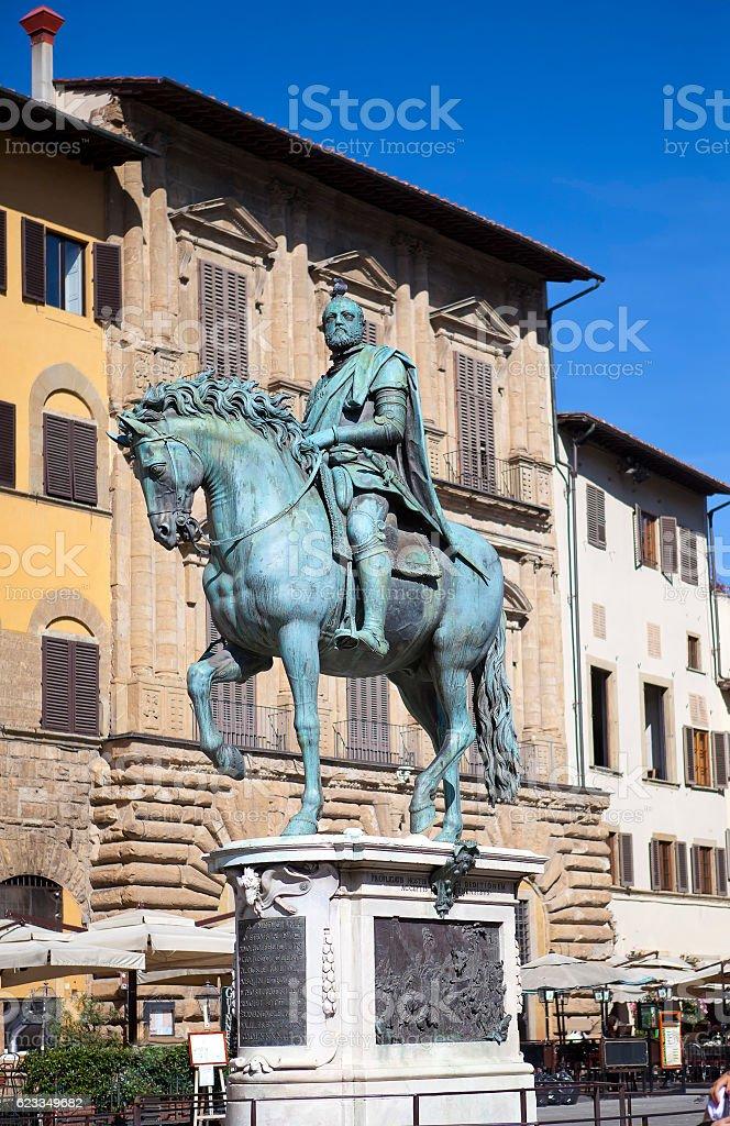 Monument of Cosimo Medici  Italy. Florence. Piazza della Signoria. stock photo