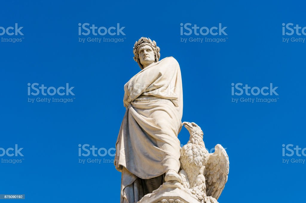 Monument of Dante Alighieri in Florence closeup stock photo