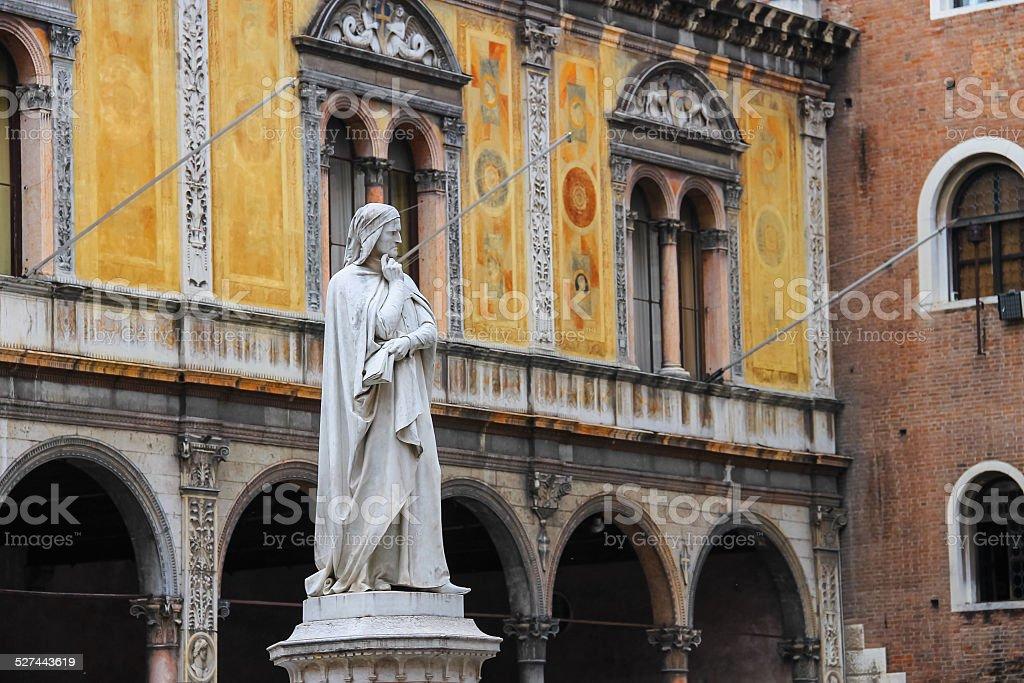 Monument of Dante Alighieri on  Piazza della Signoria in Verona stock photo