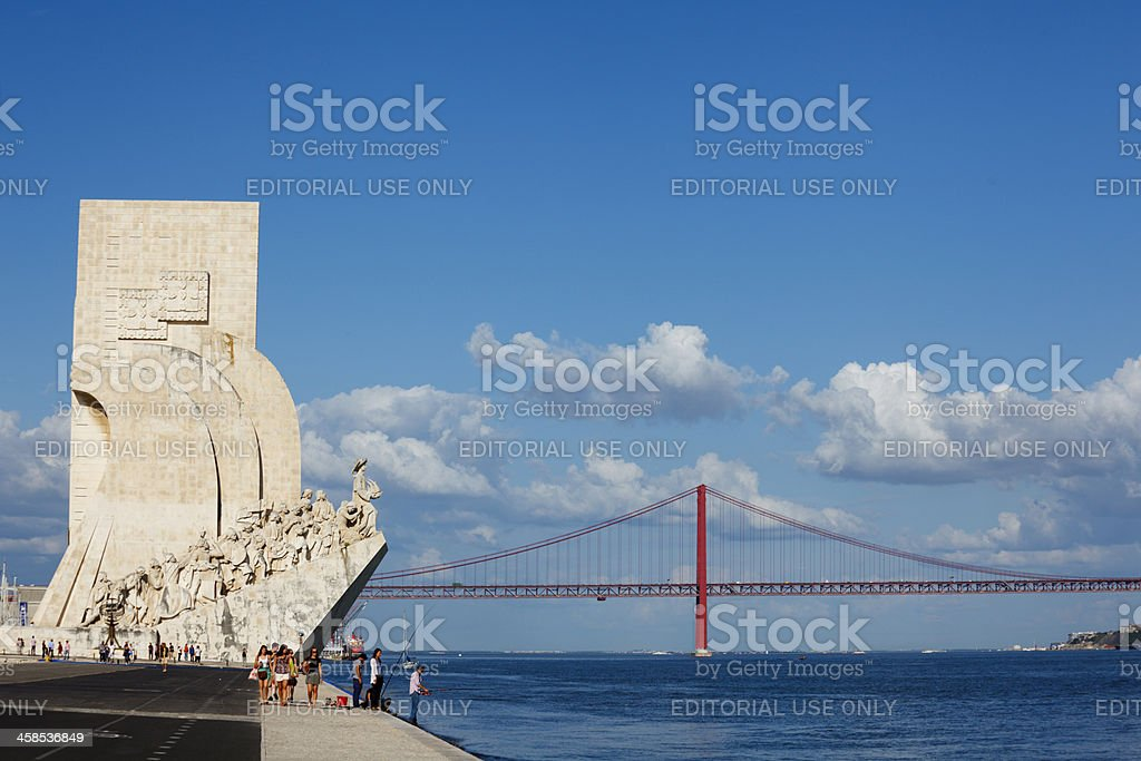 Monument of Discoverries and Golden Gate Bridge, Lisbon stock photo