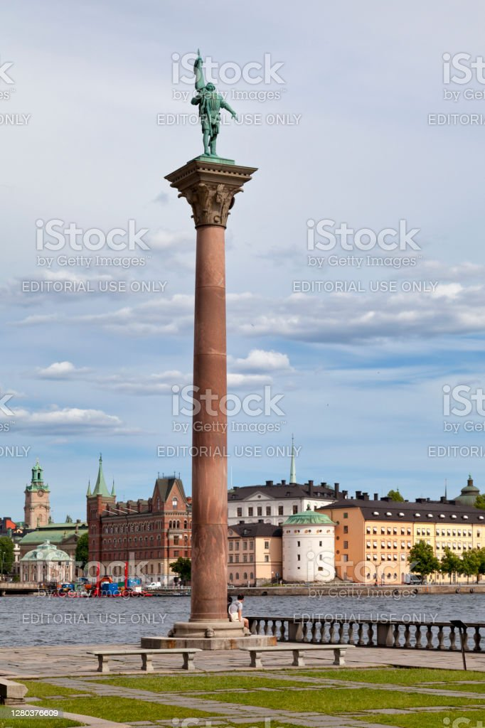 Monument of Engelbrekt in Stockholm Stockholm, Sweden - June 22 2019: The Monument of Engelbrekt outside of the town hall by the Riddarfjärden. Ancient Stock Photo
