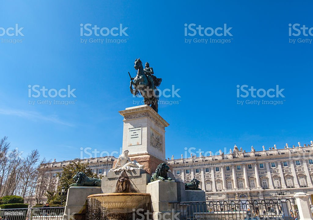 Monument of Felipe IV in Madrid stock photo