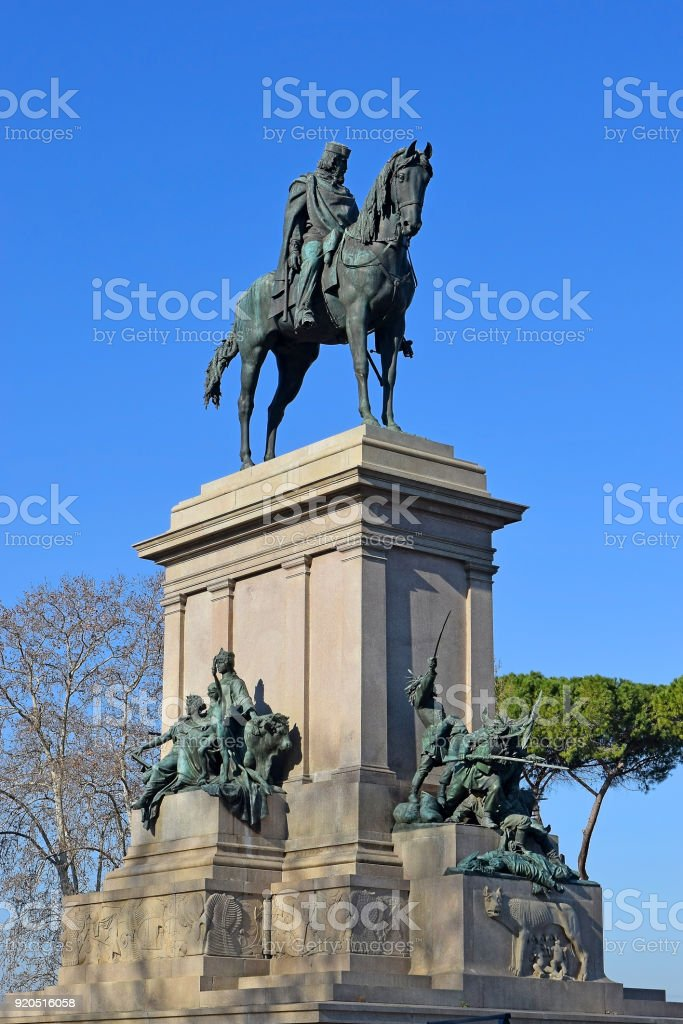 monument of Giuseppe Garibaldi at the Janiculum Hill, Rome stock photo