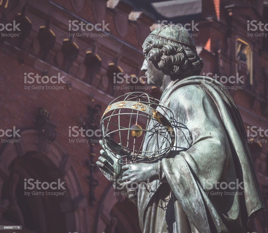 Monument of great astronomer Nicolaus Copernicus at Torun, Poland stock photo