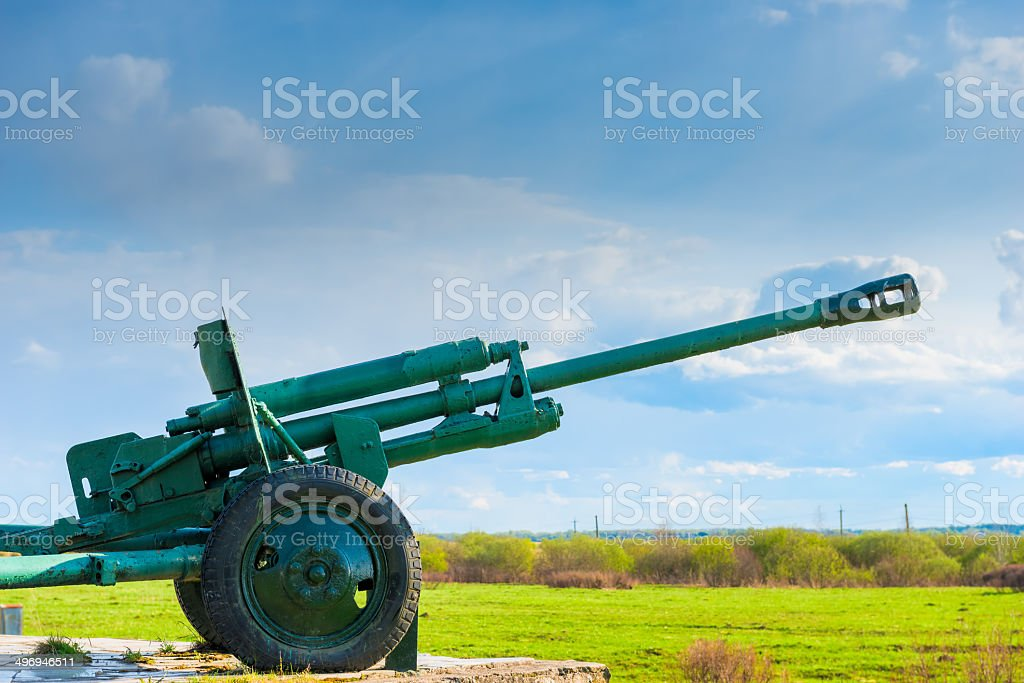 monument of military weapons against the sky stock photo