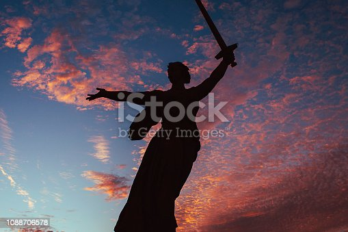 Red sunset sky in ex Stalingrad