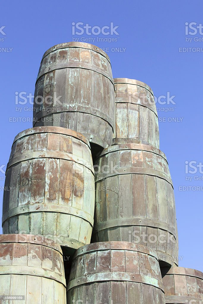 monument of old herring barrels royalty-free stock photo