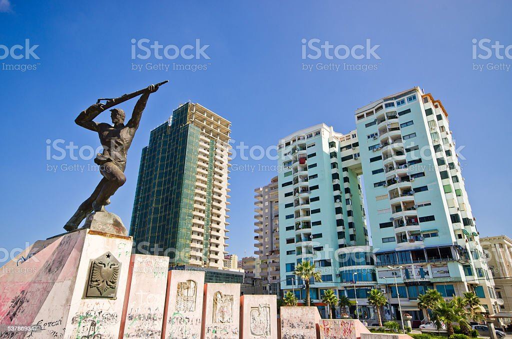 Monument of Partisan in Durres, Albania stock photo
