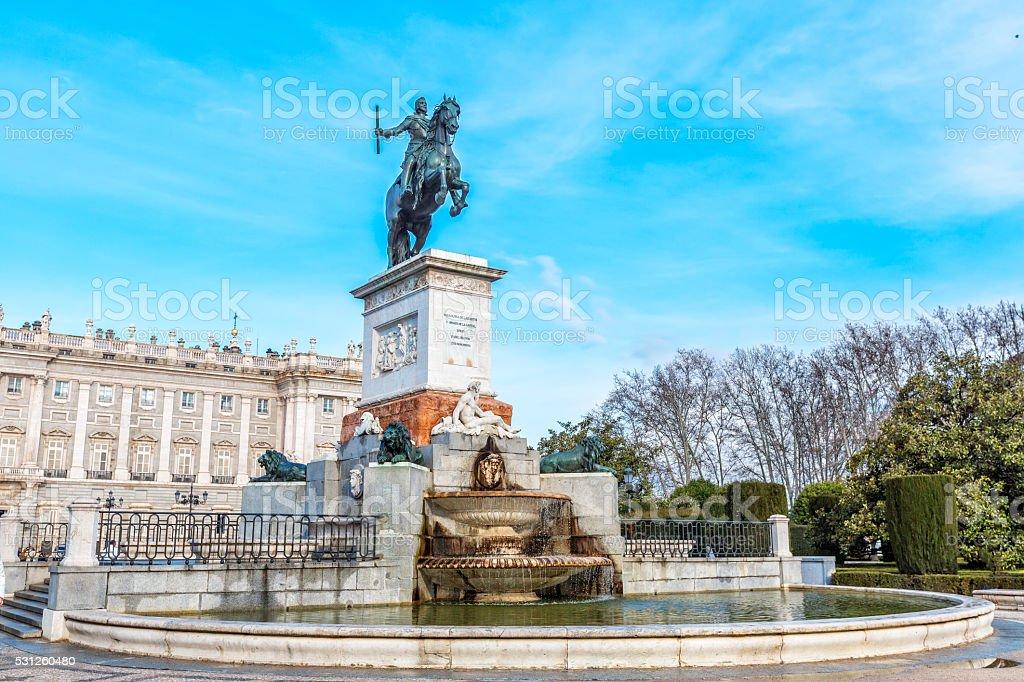 Monument of Philip IV  in Plaza de Oriente in Madrid. stock photo