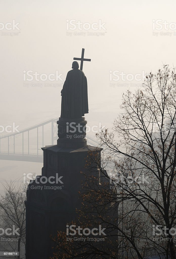 Monument of saint Vladimir in autumn mist royalty-free stock photo