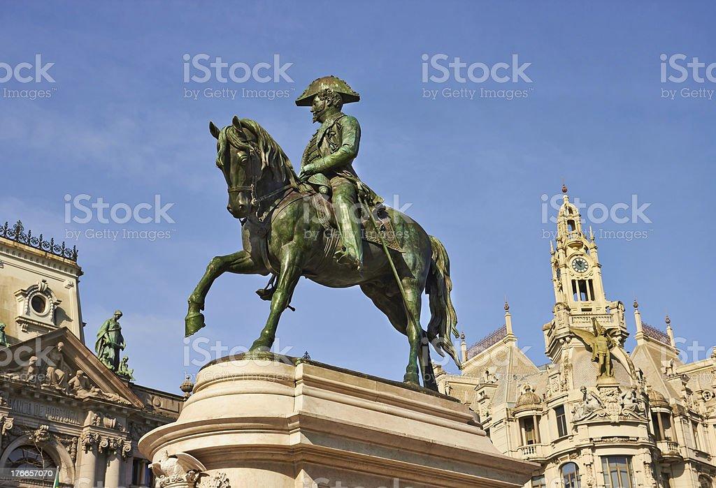 monument of the king Pedro IV, Porto, Portugal royalty-free stock photo