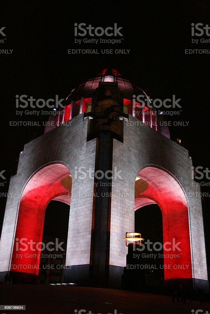 Monument of the Mexican Revolution at night stock photo