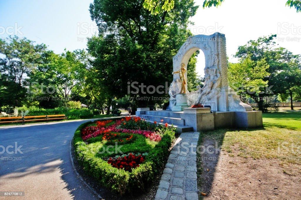 Monument of the Waltz King Johann Strauss II (Johann Strauss Jr.), an Austrian composer of light music, particularly dance music and operettas, Stadtpark (City Park), Vienna (Wien), Austria (Osterreich) stock photo