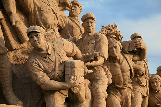 "Monument on Tiananmen Square in Beijing. ""Beijing, China - November 18th, 2007: Sculpture at Mausoleum of Mao Zedong on Tiananmen Square in Beijing, China."" mao tse tung stock pictures, royalty-free photos & images"