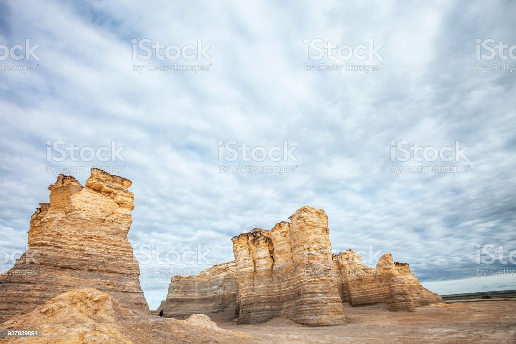 Monument Rocks, Kansas Chalk pyramids, Monument Rocks, Kansas, USA Bizarre Stock Photo
