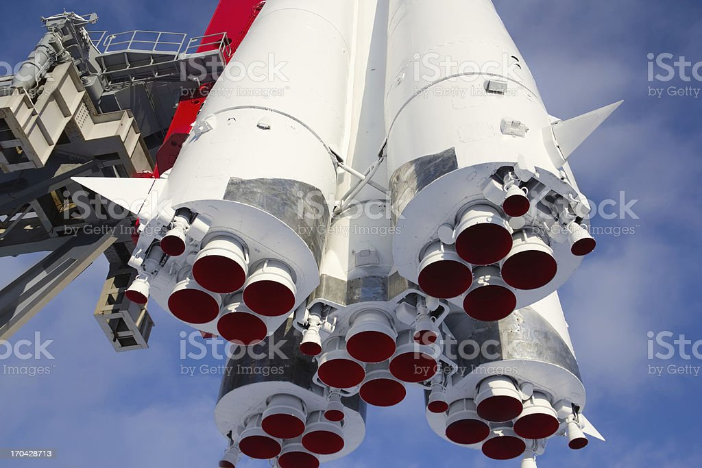 Monument space transport rocket 'Vostok' in Moscow stock photo