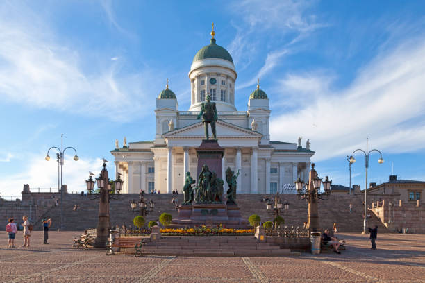 Monument to Alexander II and Helsinki Cathedral stock photo