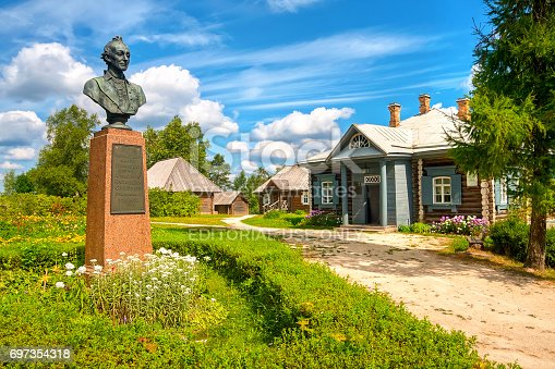 Borovichi, Russia - July 29, 2015: Monument to Alexander Suvorov in his estate in the summer sunny day. A. Suvorov (1730 -1800) is a great russian warlord
