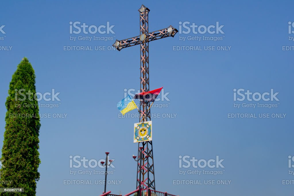 IVANO-FRANKIVSK, UKRAINE - JULY 16: Monument to All-Ukrainian community of soldiers of the Ukrainian Insurgent Army on July 16, 2016 in Ivano-Frankivsk. stock photo