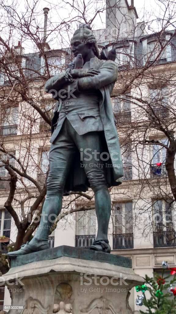 Monument to Beaumarchais Marais district near Bastille Paris France stock photo