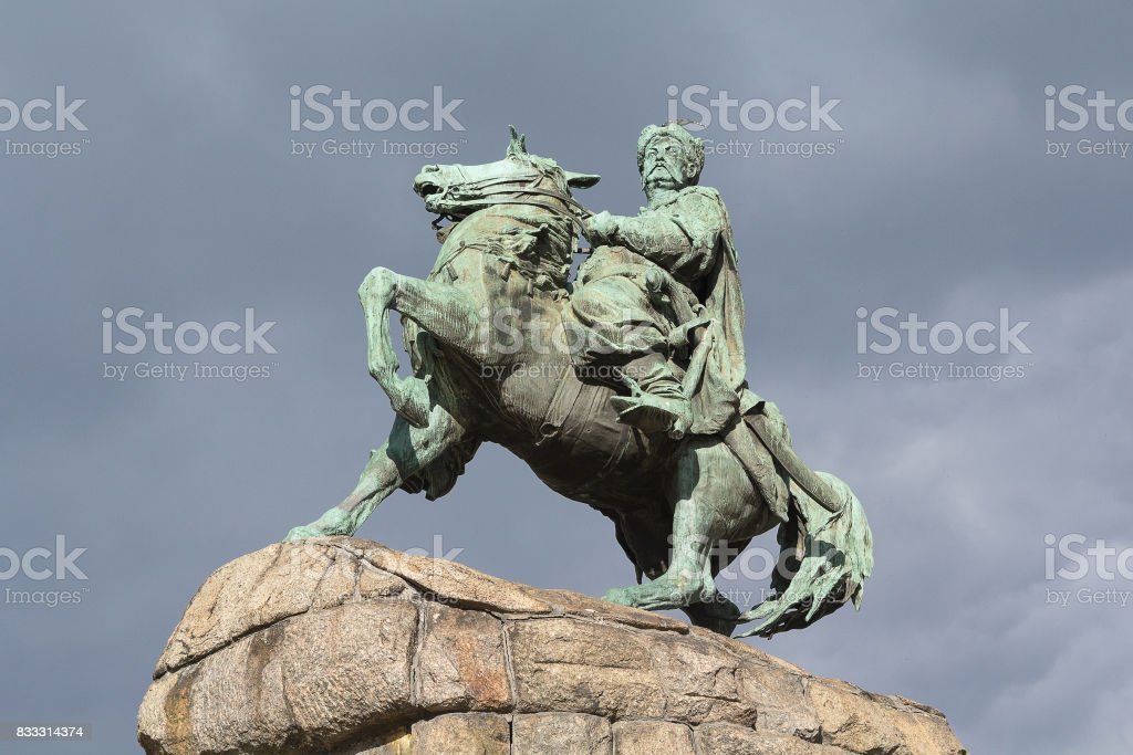 Monument to Bogdan Khmelnitsky on horseback. Kiev, Ukraine stock photo