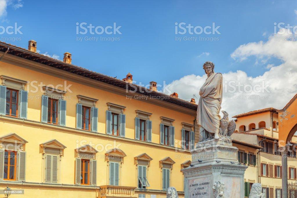 Monument to Dante Alighieri (Monumento a Dante Alighieri) on Holy Cross Square (Piazza di Santa Croce) in  Florence stock photo